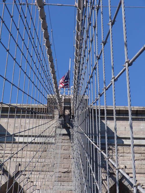 Old Glory atop the Brooklyn Bridge
